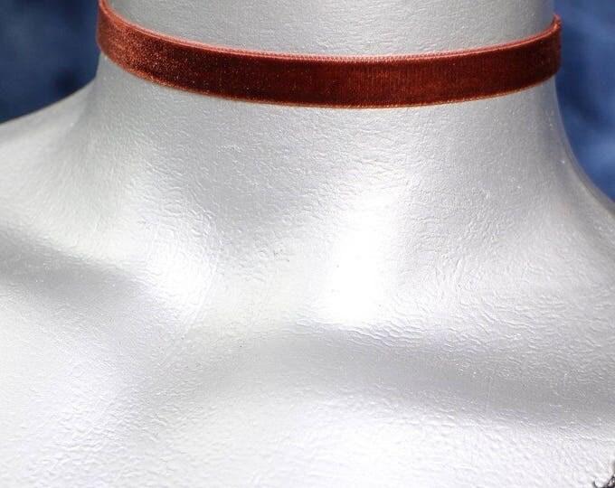 10mm Plain Brown Velvet Choker