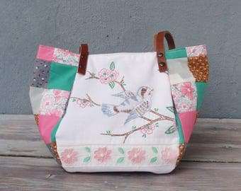 Blossom Bird Bag - Vintage Embroidery, Pink and Green Patchwork and Leather Bag.