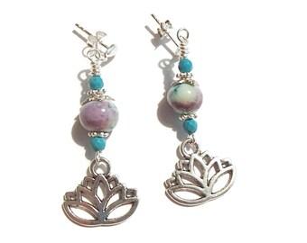 Lotus Flower Charm Earrings Lampwork Earrings Post Earrings Spiritual Symbols Zen
