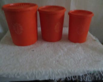 Tupperware Canister Set of 3 Orange