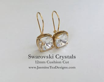 Shiny Gold Crystal Earrings, Swarovski Crystal Earrings, 12mm Cushion Cut Crystal Earrings