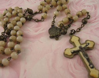 Vintage Celluloid Rosary Vintage Religious Jewelry Celluloid Crucifix Vintage Beads