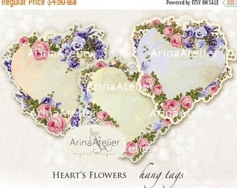SALE - 30%OFF - Heart's Flowers HangTags - digital collage sheet - 3,3x3,3 Hang Tags - Victorian Hearts - Digital Download