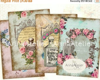 SALE - 30%OFF - Vintage Flowers Parfume Tags - ATC Cards - Set of 8 - Collage Sheet Download