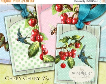 SALE 30% OFF - Chery Chery Tags - Collage Digital Sheet - Download Collage Tags - Fruits Collage Sheet  - Set of 6 Hang Tags