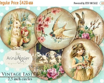 SALE 30%OFF - Vintage Easter CIRCLES 2,5 inch - digital circles -Shabby chic Circles - Digital Easter Collage - pocket mirror, tags, scrapbo