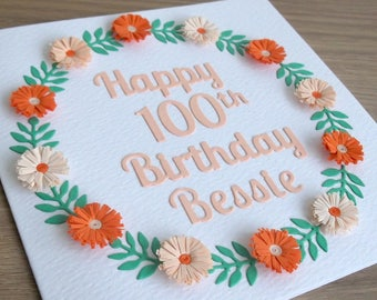 Quilled 100th birthday card, personalized with name, 18th, 21st, 30th, 40th, 50th, 60th, 70th, 80th, 90th, mum, mom, grandma, sister, auntie