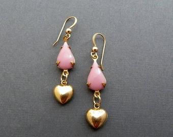 Gold Heart Earrings Pink Drop Earrings Valentine Gift Gold Filled Vintage Earrings
