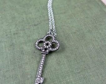 Pave Diamond Key Necklacen, Pave Key Necklace, Key Pendant, Diamond Key,  Valentine Gift for Her