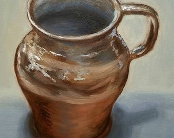 ORIGINAL OIL PAINTING Pottery Mug 6x8 Linda Merchant Daily Painting Alla Prima Small Painting Fine Art Miniature Still Life Small Painting