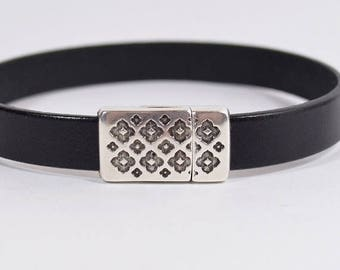 Summer Sale - 25% off Dual Sided Magnetic Clasps for 10mm Flat Leather - Antique Silver - Choose Your Quantity