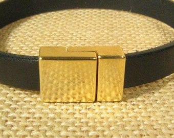 25% Off Smooth Magnetic Clasps for 10mm Flat Leather - Gold Plated - 10FCL-G5298 - Choose Your Quantity