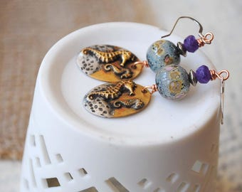 Seahorse Earrings, Nautical Earrings, Beach Ocean Earrings, Lampwork Glass Bead Earrings, Brass Earrings, Blue Earrings, Artisan Jewelry