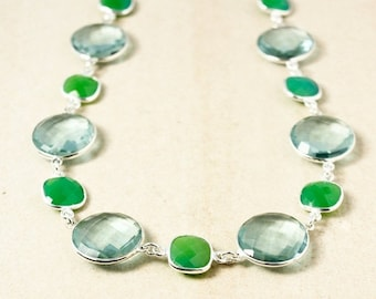 ON SALE Aqua Quartz and Green Chrysoprase Necklace – 925 Sterling Silver