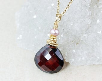 ON SALE Red Garnet Necklace - Pink Freshwater Pearl