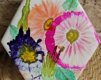 Spring Flowers Alcohol Ink Hand Painted Tile // Painted Ceramic Tile // One of a kind // Abstract Art