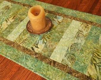 Quilted Batik Table Runner in Shades of Green Brown and Blue, Coffee Table Runner, Dining Table Decor, Dresser Runner, Quilted Tablecloth