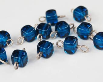 12 Capri Blue Glass Connector Beads • 6mm • Silver Hardware