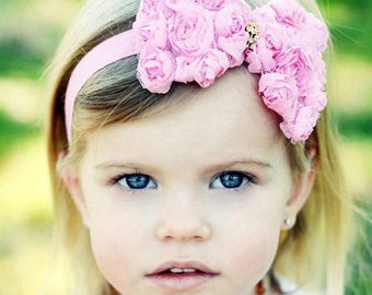 Pink Hair Bow - Bubblegum Pink Chiffon Rose Hair Bow Stretchy Pink Headband with Rhinestone Center - Romantic Opulence - Infant Toddler Gir