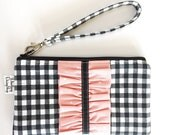 Fabric Wristlet Wallet, Smartphone Wristlet, Clutch Strap, Ruffle Wristlet Wallet, EO Pouch, Ruffled Zipper Pouch, Wristlet for Women