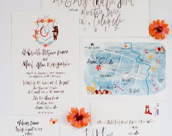 Hand Lettering with Custom Crests -  Watercolor Illustrations & Hand Lettering - Wedding Invitation Suite  - Customizable