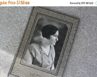 SALE SALE SALE Vintage Antique Black White Photograph Portrait Woman Flapper 1920s Bobbed Hair Altered Art Supplies Home Decor Photography