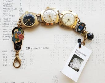 OOAK Handmade Mechanical Watches Bracelet - Recycled Jewellery - Statement Bracelet - Eco Gift