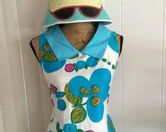 Memorial Day Sale 25% OFF Sale Super Fun Turquoise Fun in the Sun 60's Summer Dress by Keone Sportswear, Size S-M Tiki Oasis