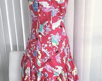 40% OFF Christmas in July Girls Just Wanna Have Fun!  1980's Fun Strapless Crinoline Drop Waist Dress -- Size S-M