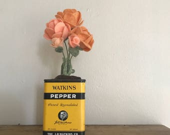 Orange and Coral Felt Rose Flower Bouquet -- Vintage Yellow Watkins Pepper Tin -- Beautiful Detailed Housewarming Gift -- Kitchen Home Decor