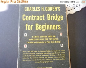 ON SALE Vintage Book - Charles Goren Contract Bridge for Beginners 1953 edition - Guide to Bidding and Play Paperback retro book
