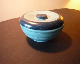Vintage Blue Wooden Trinket Box Hand turned hand painted - retro shabby chic - round box with lid handmade 1930s or 1940s