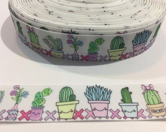 3 Yards of Ribbon - Cactus Succulents 1 inch Wide