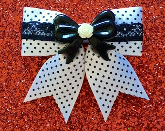 Pinup Rosie Lace Dream Hair Bow - White w/ Black Lace - Swiss Dots - Retro - Pinup - 1950s