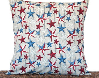 WEEKLY SPECIAL 18.00 Stars Pillow Cover Cushion Patriotic Americana Texas Fourth of July Red White Blue Primitive Rustic Decorative 18x18