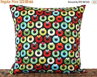 Christmas in July Sale Retro Wreaths Christmas Pillow Cover Cushion Mod Black Red Lime Green Turquoise Orange White Polka Dots Stripes Decor
