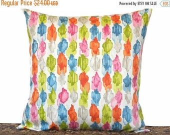 Christmas in July Sale Abstract Stripes Pillow Cover Cushion Multicolored Modern Teal Blue Pink Lime Green Orange Gray Beige Dorm Room Decor
