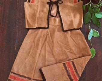 Spring SALE Vintage 70s suede leather set / matching Hippie vest and skirt  /  crochet trimmed patchwork Boho skirt and vest