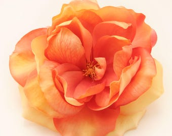 1 Jumbo Orange Medley Garden Rose  - Artificial Flower, Silk Flower Heads