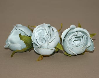 3 Small Blue Gray Cabbage Rose -  Artificial Flowers,  Silk Flowers