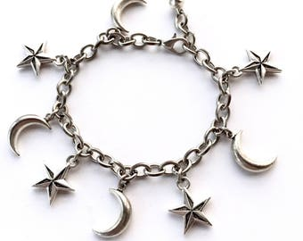 Night Magick Moon and Star Charm Bracelet, Silver Cresent Moons and Nautical Stars Adjustable Length Bracelet