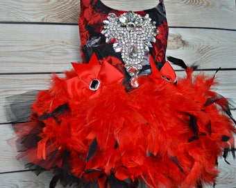 Dog Dress - Feather Harness Dog Dress - Cabaret Dog Dress - Burlesque - Dog Wedding Dress - Fancy Dog Dress - Showgirl Costume, Large, Small