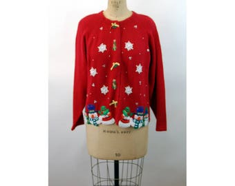 Vintage Christmas sweater Ugly Tacky Christmas cardigan appliqued snowmen snowflakes red Casual Corner Size M