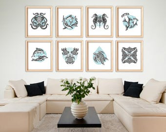 Tribal Underwater Marine Animals, Tattoo Design, Art Prints, Set of 8