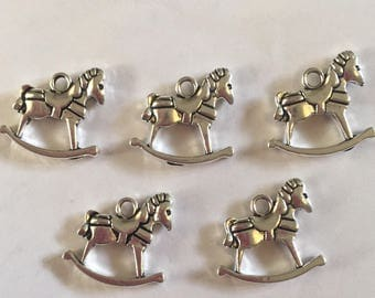 Set of 5 Tibetan silver rocking horse charms