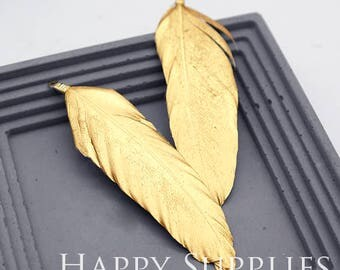 4Pcs 80mm White Duck Feather with Gold Dipped, Jewelry Supplies (DT092)