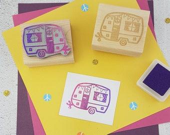 Trailer Stamp - Little Festival Caravan Rubber Stamp - Caravan Gift - Gift for Caravan Lover - Glamping - Camping - Camper - Hippy Gift
