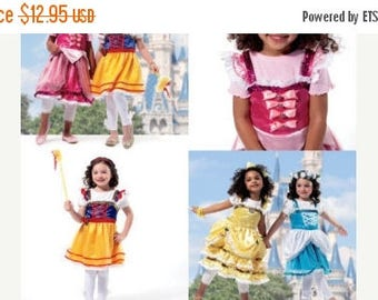 Girls DISNEY Princess Costumes--UNCUT Pattern--Multi 3-8 sz -- 40-70% off Patterns n Books SALE