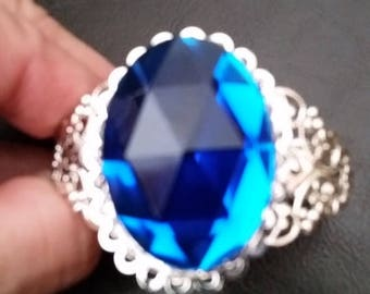 Gorgeous Royal Blue Lacy Cuff Bracelet --20-25% off Jewelry SALE -- FREE Gift Wrap