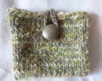 Faded Time Clutch - Handknit pouch